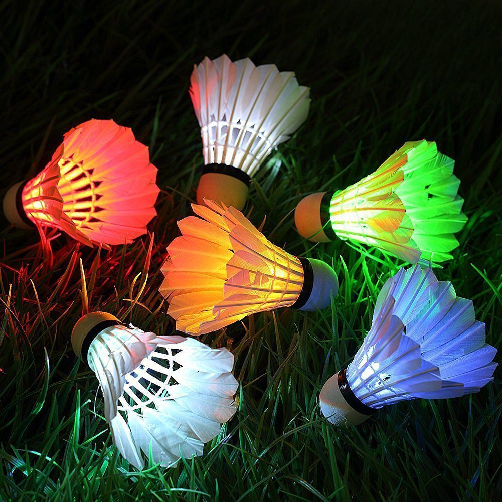 4 Pcs LED Badminton Shuttlecocks Lighting Birdies Shuttlecock Glowing Badminton For Outdoor Sports DX88