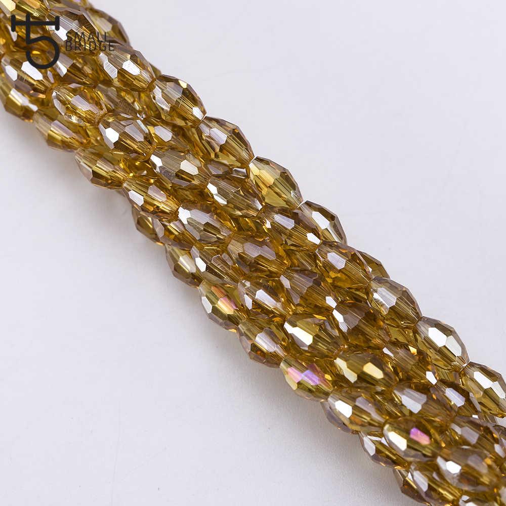 4*6 Mm Diperhitungkan Kristal Beads untuk Perhiasan Membuat Gelang DIY Aksesoris Grosir Longgar Pengatur Jarak Manik-manik Bentuk Oval y101