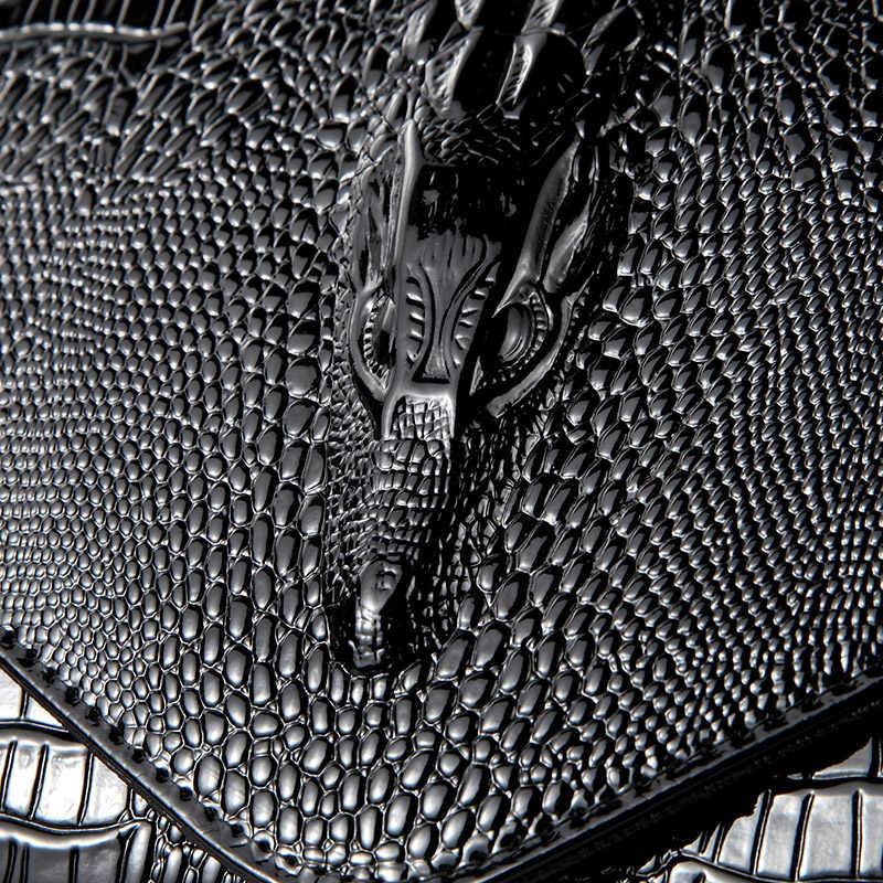 2018 nuevo tatuaje de cocodrilo Paquete de mano ola versión coreana bolsa femenina moda Slanting pequeña bolsa capacidad bolso de banquete