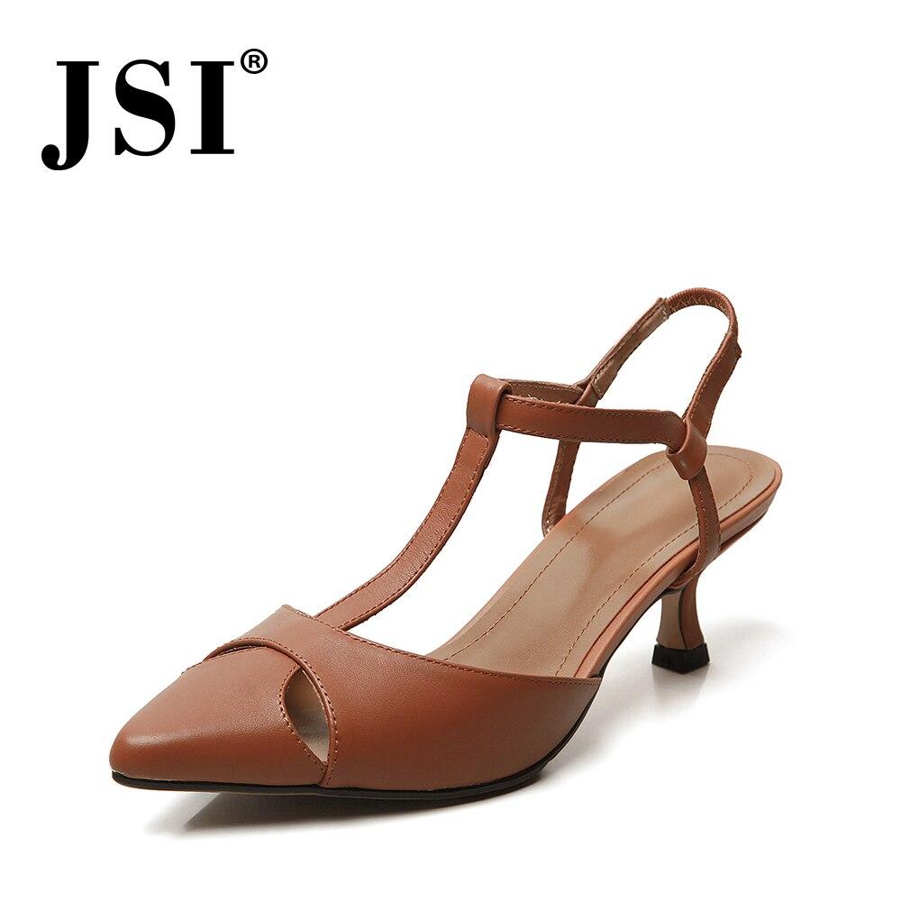 Jsi 우아한 간결한 여성 고품질 기본 정품 가죽 얇은 발 뒤꿈치 드레스 숙 녀 신발 지적 발가락 다시 스트랩 샌들 jo123-에서중 힐부터 신발 의  그룹 2