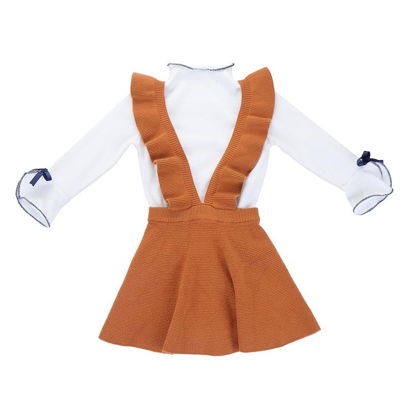1 -6 yrs toddler girls cute bow knit children clothing set t shirt +sling dress thanksgiving outfits autumn winter kids clothes contrast frill trim rib knit t shirt
