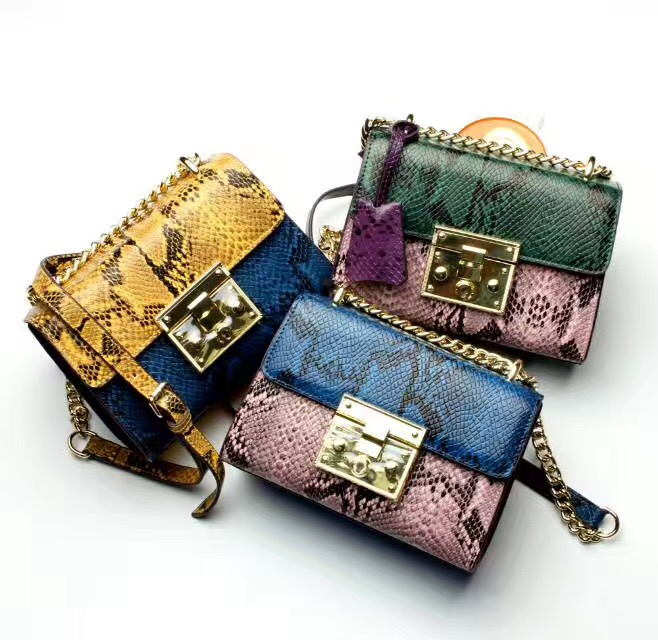 2017 Special Offer Hot Sale Polyester Zipper Soft Single Totes Women Small Flap Serpentine Bag Leather Chain Handbag Crossbody