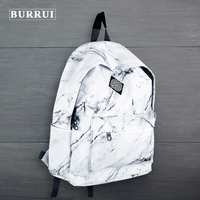 BURRUI Marble Pattern Printed Backpack Oxford Fabric Waterproof Casual Backpack Retro Style Laptop Bag Unisex School