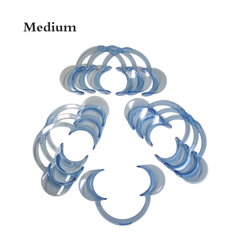 10 peças/lote Dental Cheek Retractor Boca Abridor de Lábio Expansor C-forma Tamanho Médio Azul Claro