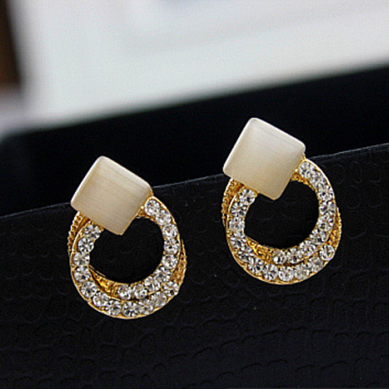 YITING Crystal Rhinestone Stud Earrings Gold Double Ring Ear Studs Geometric Women Jewel ...
