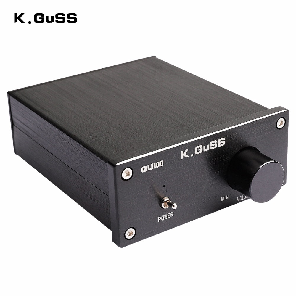 K.GUSS GU100 MINI HiFi Class D Audio Digital Power Amplifier tpa3116d2 TPA3116 Advanced 2*100W Mini Home Aluminum Enclosure amp 2017 new k guss gu50 hifi 2 0 class d tpa3116 mini borne audio power amplifier amplificador 2 50 w dc12v to dc24v