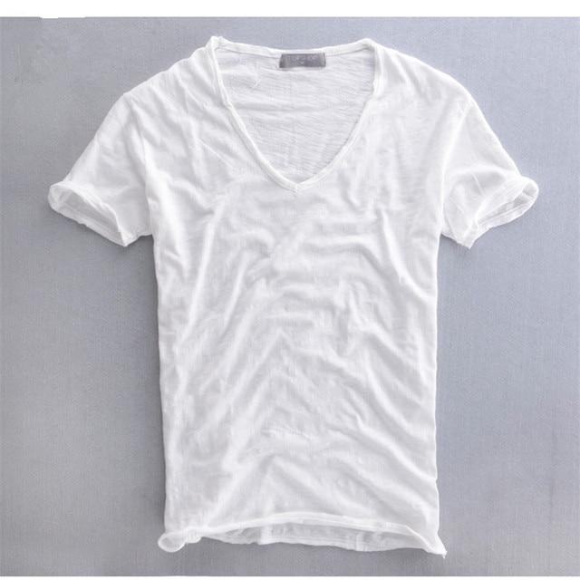 V Neck Summer Men T shirt Casual Tops Breathable 100% Cotton Short Sleeve Clohting For Men White Gray 3194