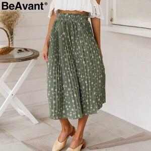 Image 3 - Beavant saia plissada longa com estampa floral, feminina, para férias, praia, chiffon, verão, estilo boêmio, solto
