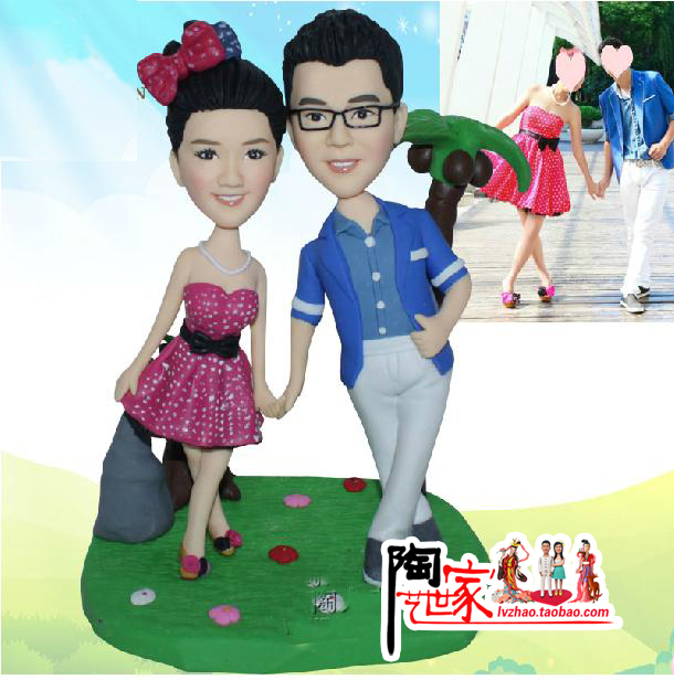 2015 new product  Real Sale Custom Polymer Clay figurine From Pictures Wedding Gift cake topper for friend