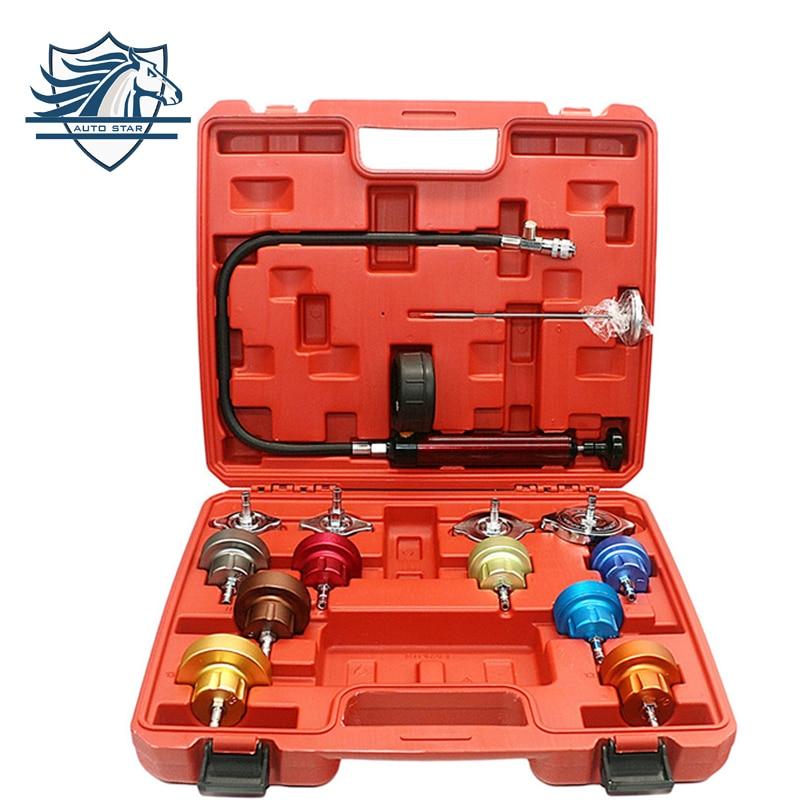 14PCS Automotive Radiator Pressure Tester Kit Car Leak Detector tool Auto Cooling System Coolant Vacuum Purge