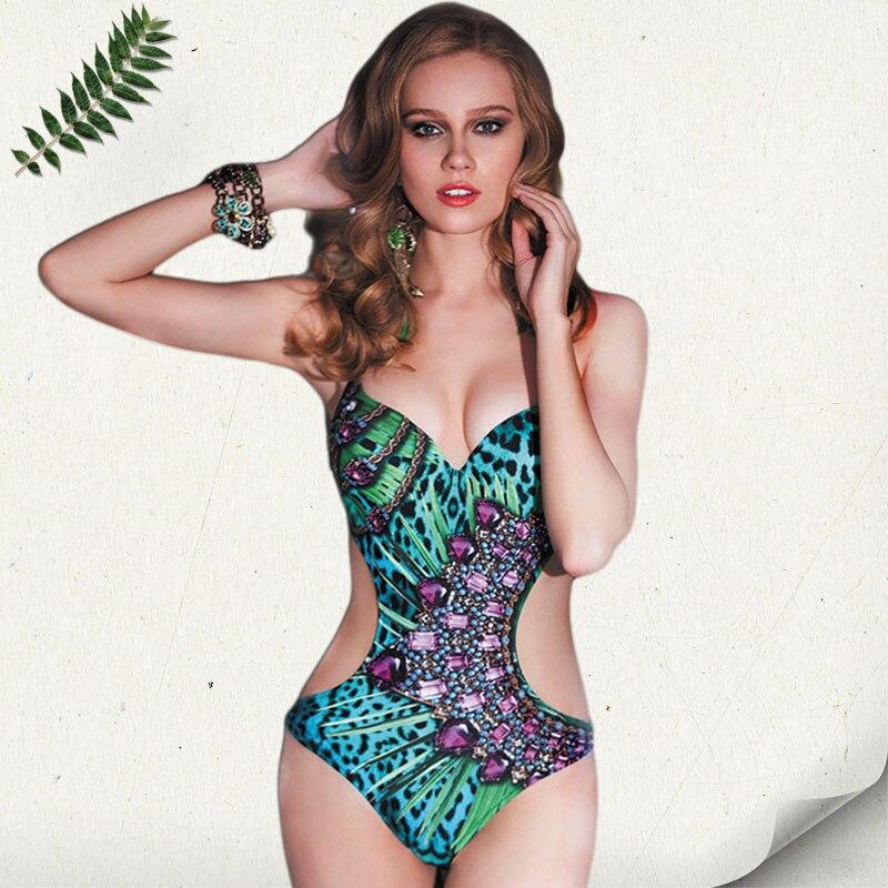 2016 New High End Print Leopard Pattern Sexy Women Swimwear Vintage One Piece Monokini Push Up
