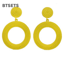 Big Yellow Earrings For Women Round Drop Earring Bohemia Statement Pompom Fringe Geometric Vintage Earings Fashion Jewelry(China)