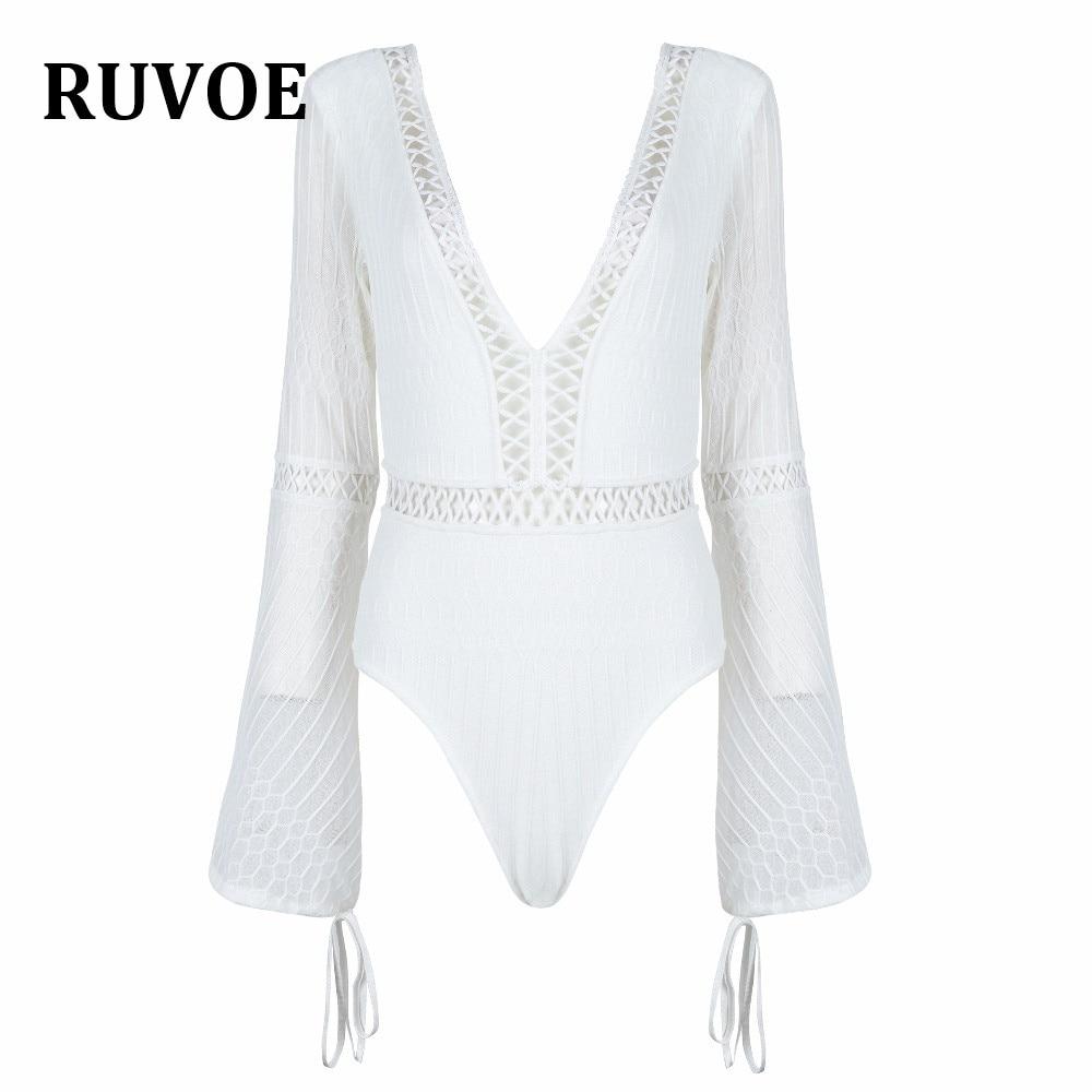 Black White Backless Solid Skinny Bodysuit V Neck Open Back Flare Long Sleeve Draped Plain Women Rompers 2018 W-3