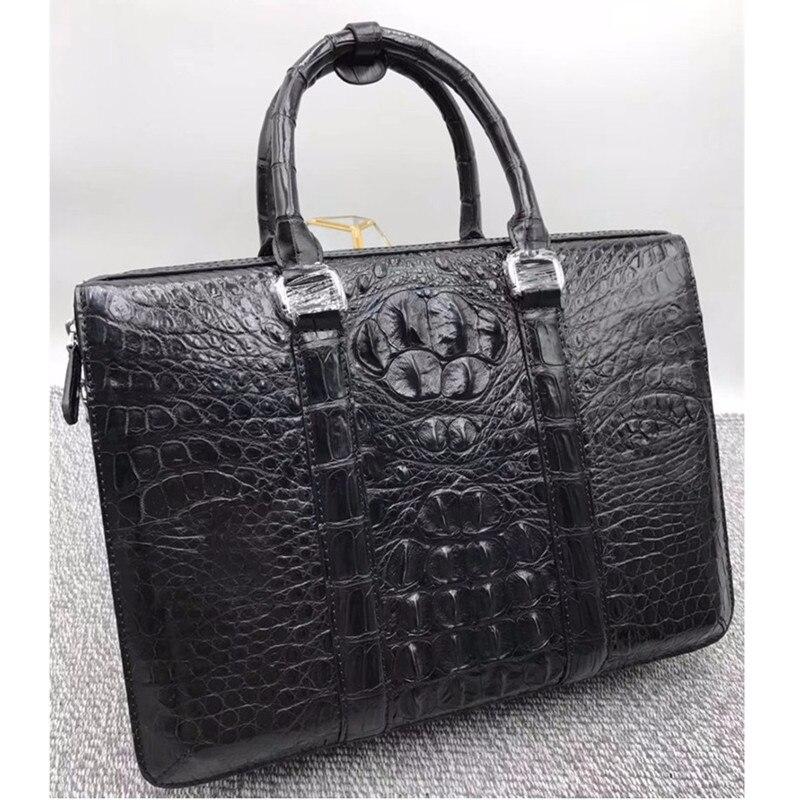 Style d'affaires 100% véritable peau de Crocodile hommes travail sac à main véritable Alligator en cuir mâle grand sac à bandoulière porte-documents pour homme