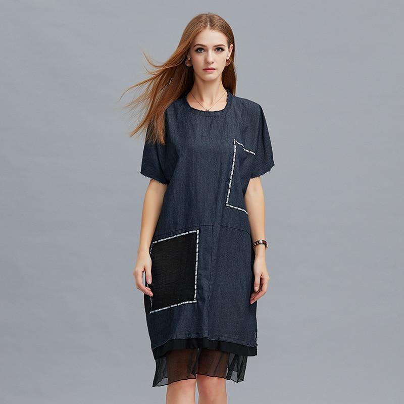 2e396a318d6c9 2018 Yaz tarzı moda kadın Raglan kollu baskılı patchwork gevşek elbise örgü  patchwork rahat vestidos artı boyutu sokak giyim