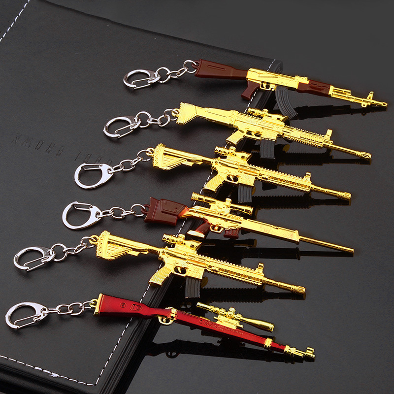 12 CM Battle Royale Action Figure Gun Model Keychain Metal FORTNIGHT Item Game Accessories Weapon Action Figure Toys Kids Gifts