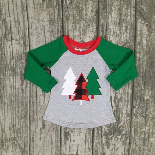 christmas day fallwinter baby girls children clothes green christmas tree boutique cotton top t