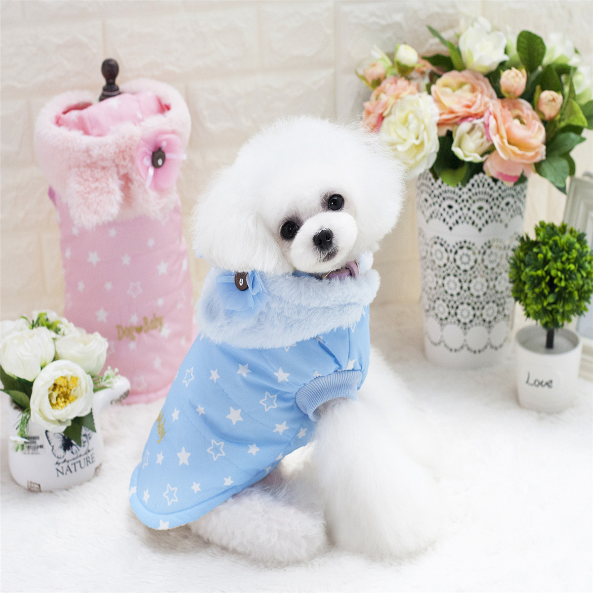 Pet hoodies coat with rabbit ears Dog Clothes Winter warm Cotton Puppy Clothes for small dog for Teddy Chihuahua