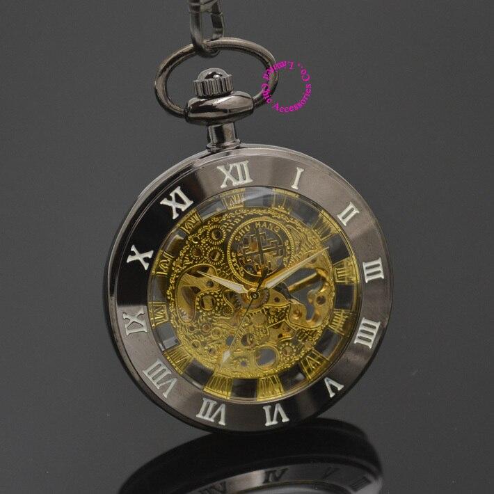 wholesale gold Mechanical Pocket font b Watch b font men skeleton font b steampunk b font