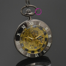 wholesale gold Mechanical Pocket Watch men skeleton steampunk man fob watches roman antique vintage retro Stylish hand Wind