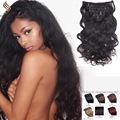 Remy Virgin Brazilian Hair Clip In Extensions 120G Clip In Brazilian Hair Extensions 1B Black Clip In Human Hair Extensions 200G