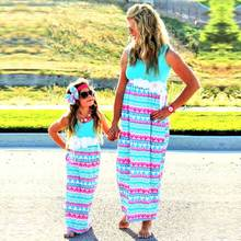 Summer Mother Daughter Dress Triangle Print matching mother daughter clothes Family look Mom And Daughter dress ropa mama e hija