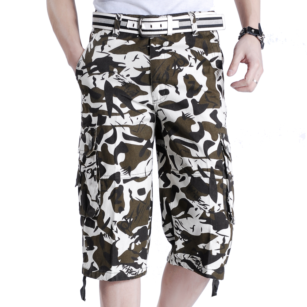 Kowaunkeenly 2018 summer new arrival Mens high quality Camouflage printed Cargo pants,big size multi-pocket cutton short pants
