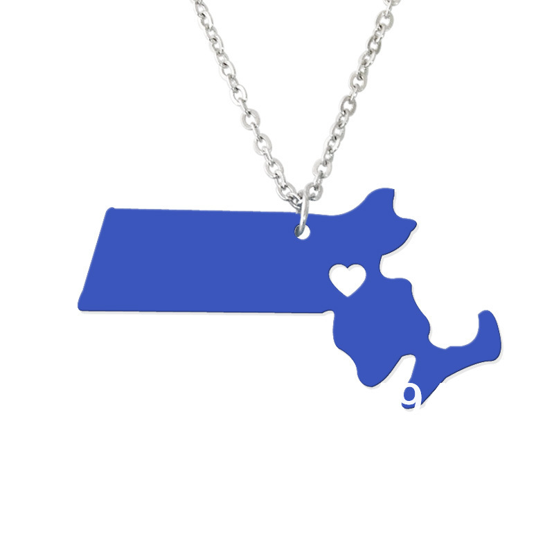 Custom Map Necklace -I heart Massachusetts Map Pendant - State Charm MA Map Heart necklace-Personalized jewelry