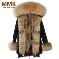 2018 Brand Real Fox Fur Coat Long Women Real Fur Parka Green Black Natural Raccoon Fur Collar Warm Jacket