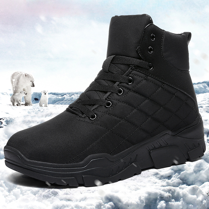 Best Waterproof Hiking Shoes for Men Winter Sore Wedge Tactical Snow  Sneakers Outdoor Thick Thermal Warm High Top Black Boots-in Hiking Shoes  from Sports ... 6b93b0fd94d0