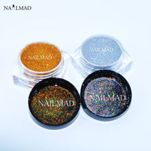 2colors/set 0.05mm Holographic Silver & Gold Glitters Nail Laser Sequins Nail Paillettes Hologram Glitter Dust 3ml