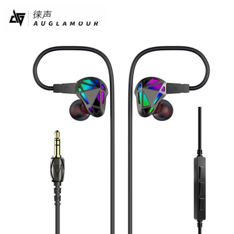 AUGLAMOUR RT-1 Earphone 1DD+1BA Dual Driver Stereo Bass Sport Earbuds Geometry Headset with Mic for iPhone xiaomi Samsung Mp3 mllse anime fairy tail cartoon in ear earphone portable aux wired stereo earbuds sport mic headset for iphone samsung xiaomi mp3