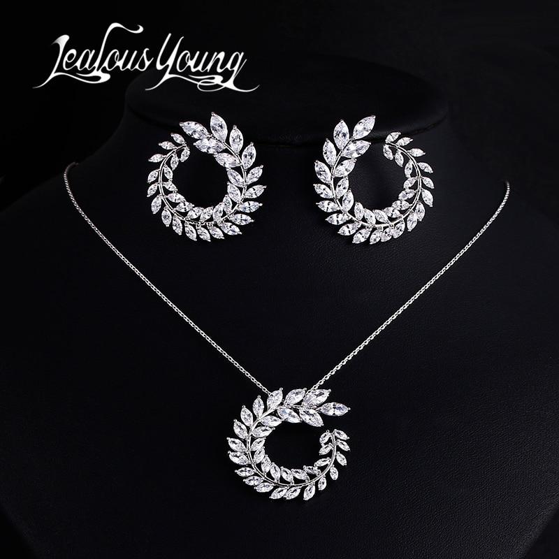 Dua Ukuran Desain Baru Mewah AAA Zircon Cabang Zaitun Anting dan Liontin Perhiasan Set Untuk Fashion Wanita Pernikahan Perhiasan Set AS128