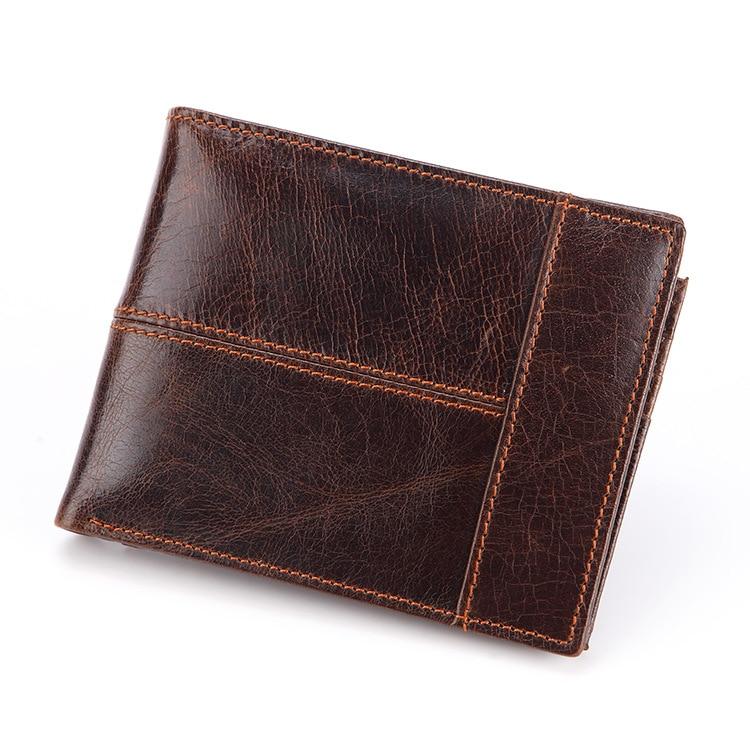 Новинка, Брендовые мужские кошельки из натуральной кожи, мужские кошельки для денег, мужские роскошные маленькие короткие дизайнерские сумки для монет, чехол для ID карты WB18 - Цвет: Коричневый