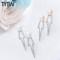 TYTW 925 Sterling Silver Shell Pearl Fashion Earring Women Jewelry Customize Fresh Water Pearl Korea pearl earrings