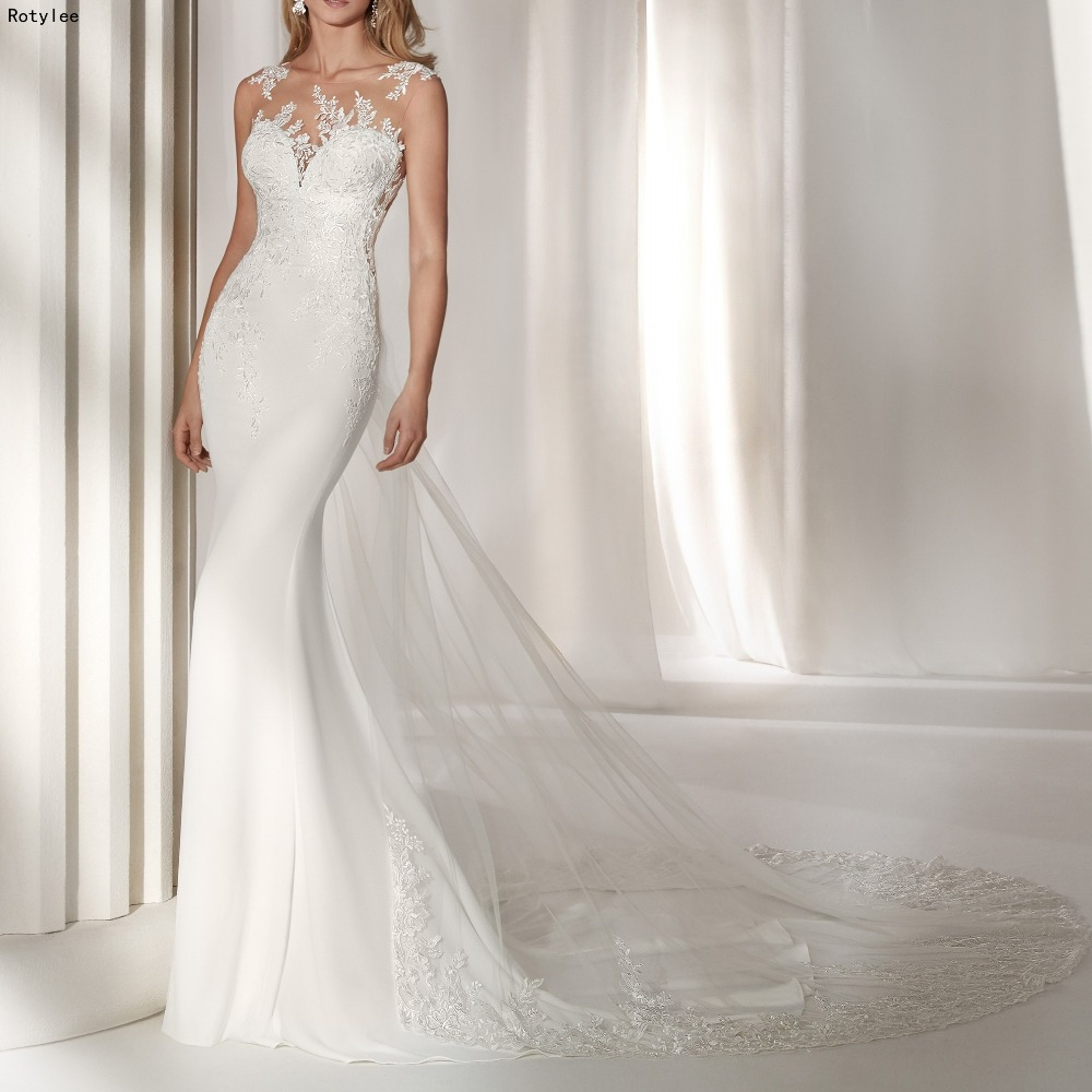competitive price 7cfd5 9face US $215.0  Tulle & Chiffon Sexy Back Mermaid Wedding Dresses with  Detachable Skirt Abiti da sposa-in Wedding Dresses from Weddings & Events  on ...