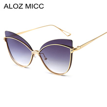 ALOZ MICC Fashion Cat Eye Sunglasses Women 2019 Brand Designer Rimless Alloy Sun Glasses Female Gradient UV400 Eyeglasses Q37
