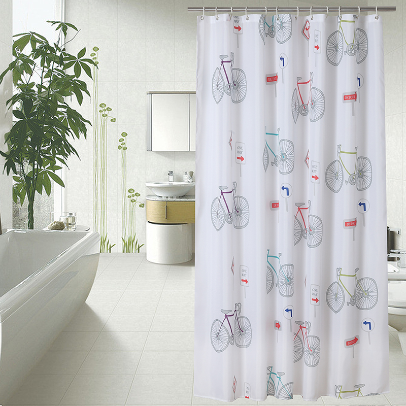Thickened Mosaic Pattern Shower Curtains Polyester Waterproof Bath Bathroom