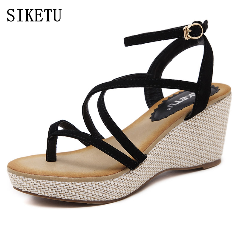 SIKETU 2017 summer new Woman Sandals Fashion Flip Flops open toe high-heeled Women shoes female Casual sandals Plus size 35-40
