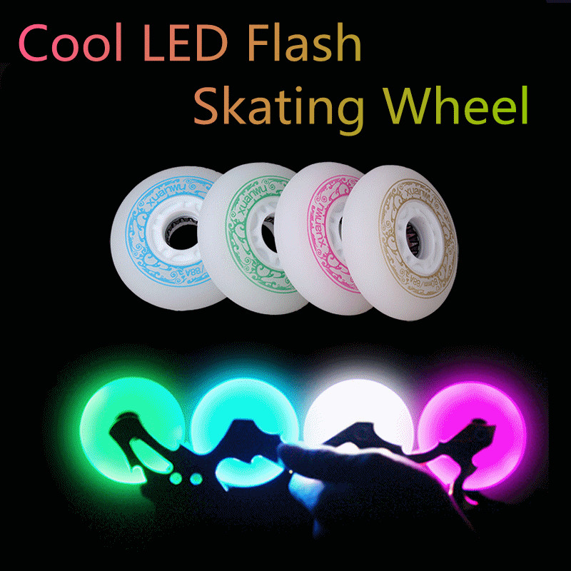 72mm 88A Original XuanWu LED Flash Shine Inline Skate Wheel, Peach White Blue Green Light, Shining In Dark Night