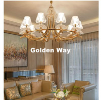 Free Shipping Modern LED Chandelier Light Gold Color Suspension Drop Lamp For Living Dining Room E14