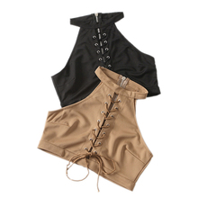 style girls 2017 new summer time put on Halter straps cross quick vest slim horny navel shirt