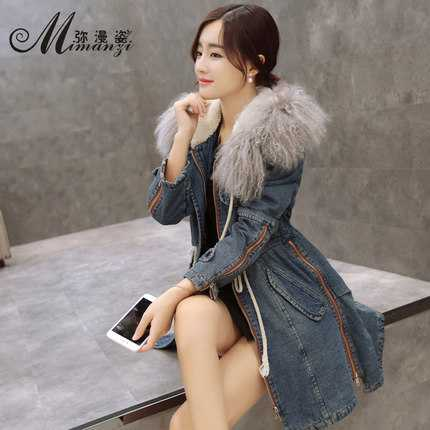 Winter Coat Women 2016 Fashion Lamb Wool Hooded Thicken Parkas Women Slim Long Denim Jacket Woman  Outerwear XXL H6792 матрас perrino перрино миро 180x195