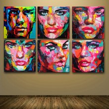 6 Pcs/ Set Francoise Nielly Designer Cool Face faces Art Palette knife Oil painting Painted On canvens for Bedroom Wall Decor