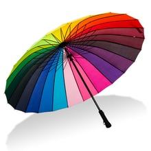 24K قوس قزح مظلة كبيرة يندبروف الرجال الجلود مقبض طويل المحارب مظلة الإناث مشمس وممطر مظلة مع حقيبة كتف