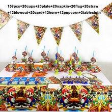 Super Mario Bros partei liefert dekoration set 158 teile/los einweg geschirr einweg papier platte tasse serviette tischdecke horn