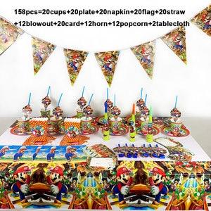 Image 1 - Super Mario Bros partei liefert dekoration set 158 teile/los einweg geschirr einweg papier platte tasse serviette tischdecke horn