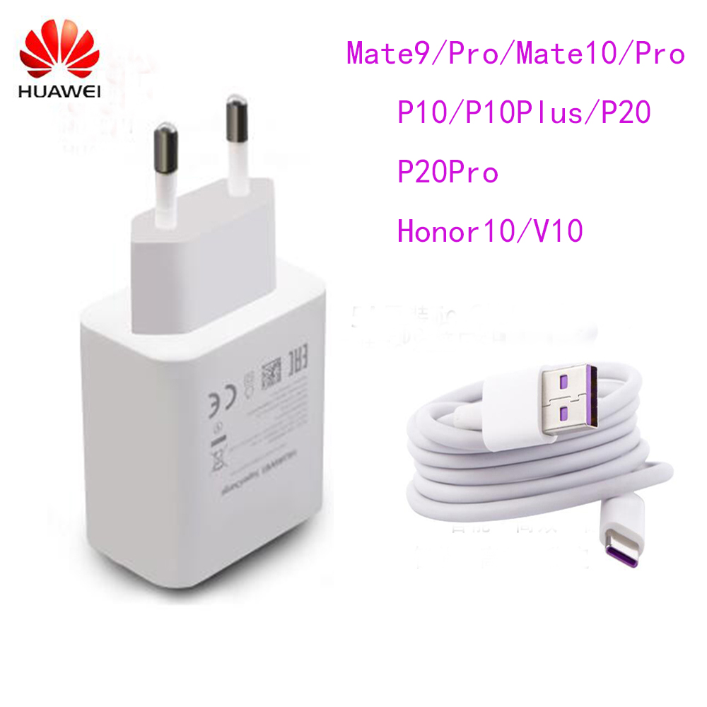 Original HUAWEI P20 Pro Fast Charger Mate 9 10 Pro Supercharge Quick Travel Wall Adapter 4.5V5A/5V4.5A 1M Type C 3.0 USB Cable-in Mobile Phone Chargers from Cellphones & Telecommunications