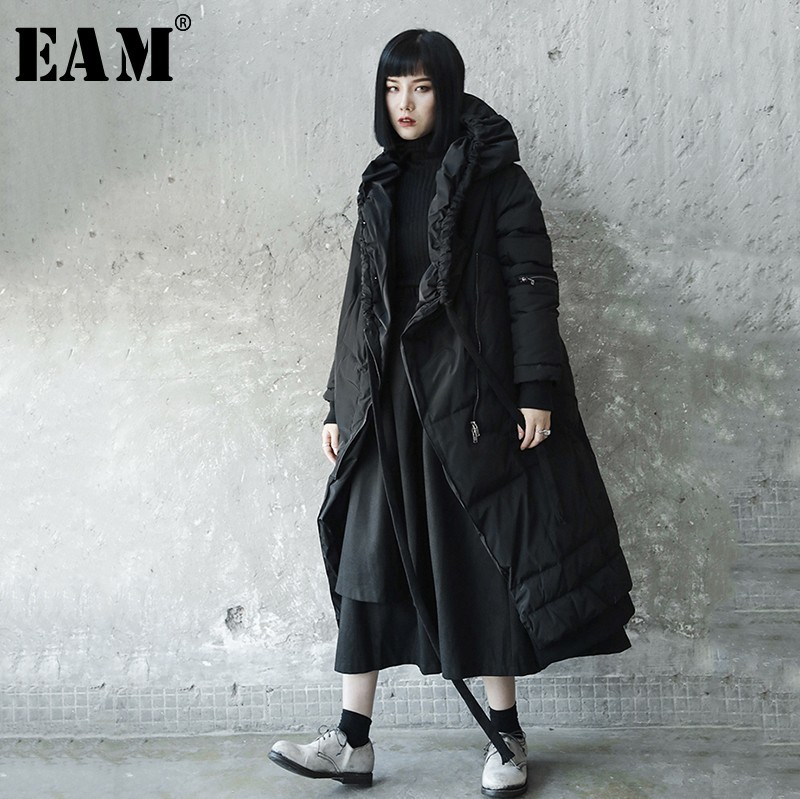 [EAM] 2019 New Spring Winter Hooded Long Sleeve Black Irregular Drawstring Cotton-padded Coat Women Parkas Fashion Tide JL293