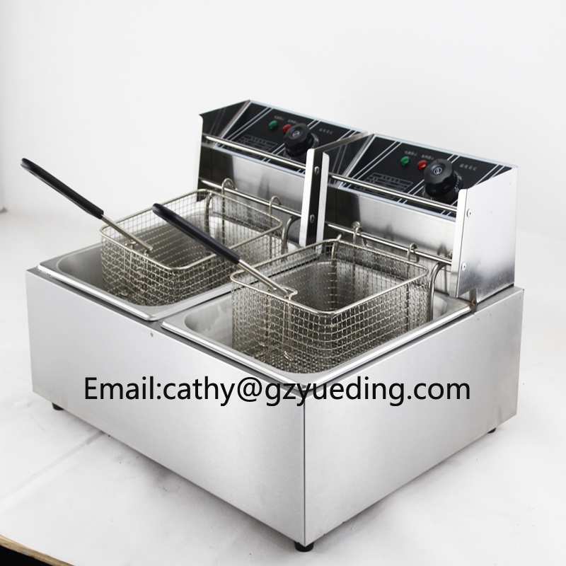 цена Double tank 12L Electric Frying Chicken Machine /Chicken Deep Fryer Machine/KFC chicken fryer